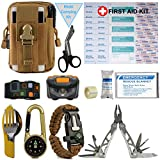Camping Kit with First Aid - 40-Piece Camp Emergency Kit - First Aid Survival Kit Includes Military Tactical Bag, Camping Utensil Set, Headlight, Survival Bracelet(Khaki)