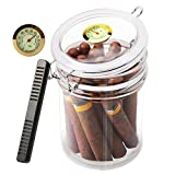 Scotte Acrylic Humidor Jar with Humidifier,Cigar Case Humidor,Rectangle humidifier Included and Hygrometer,Can Hold 18 Cigars