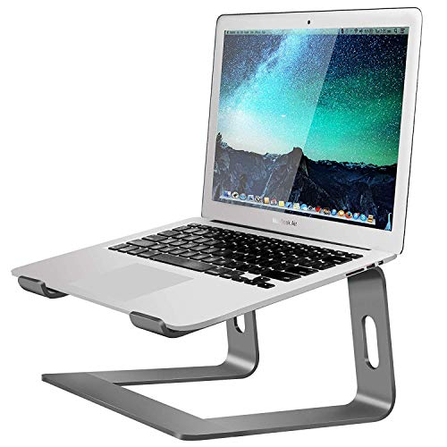 Soundance Aluminum Laptop Stand for Desk Compatible with Mac MacBook Pro/Air Apple 12' 13' Notebook, Portable Holder Ergonomic Elevator Metal Riser for 10 to 15.6 inch PC Desktop Computer, LS1 Gray