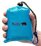BEARZ Outdoor Beach Blanket/Compact Pocket Blanket 55″x60″ - Lightweight Camping Tarp, Waterproof Picnic Blanket, Festival Gear, Sand Proof Mat for Travel, Hiking, Sports - Packable w/Bag (Blue)