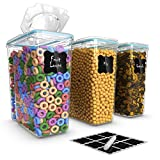 Top Quality Cereal Containers 3 Pc (16.9 Cup/135.2oz) + FREE 18 Chalkboard Labels & Marker - Airtight Dry Food Keepers - Great For Cereal, Flour, Sugar & More - BPA Free Dispenser
