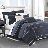 Nautica 217309 Southport Cotton Comforter Set, Full/Queen, Blue/White