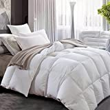 ROYALAY Luxurious All-Seasons Natural White Down Fiber Blend Comforter-Solid, Lightweight Corner Duvet Tabs, 600 Fill Power,37 OZ Fill Weight,100% Cotton Cover (King)