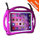 TopEsct iPad 2 Case for Kids, Shockproof Silicone Handle Stand Case Cover&(Tempered Glass Screen Protector) for iPad 2nd Generation,iPad 3rd Generation,iPad 4th Generation (Purple)