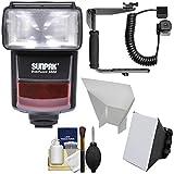 Sunpak DigiFlash 3000 E-TTL Electronic Flash + Bracket & Cord + Soft Box + Reflector Kit for Canon EOS 6D, 70D, 7D Mark II Rebel T3, T3i, T5, T5i, SL1 Cameras