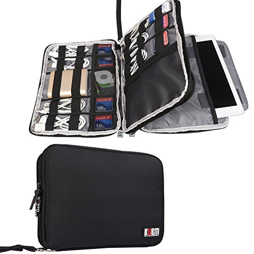 BUBM Travel Cable Organizer, Double Layer Electronic Accessories Organizer Case for Cord, Flash Hard Drive, Earphone, A Padded Sleeve Fits for iPad or Tablet(up to 9.7')-Large, Black