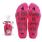 Bring Me Wine Fuzzy Pink Socks - Novelty Cupcake Packaging for Her - Birthday Gift Idea for Women, Mom, Wife, Sister, Friend, Aunt or Grandma - 1 Pair Christmas Stocking Stuffers