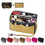 Purse Organizer Insert, Felt Bag organizer with zipper, Handbag & Tote Shaper, Fit LV Speedy, Neverfull, Longchamp, Tote (Medium, Washed Light Grey and Yellow)