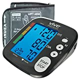 Vive Precision Blood Pressure Machine - Heart Rate Monitor - Automatic BPM Sphygmomanometer Heartbeat Measurements For Hypertension Diagnosis, Accurate Pulse Readings - With Upper Arm Cuff (Black)