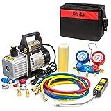 XtremepowerUS Premium 4CFM Air Vacuum Pump HVAC A/C Refrigeration Kit AC Manifold Gauge Case Set w/Leak Detector and Carrying Tote Bag