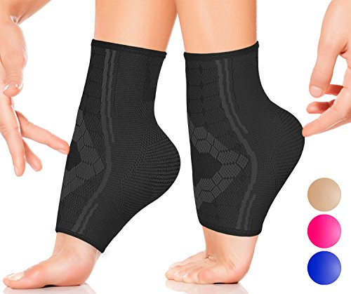 Ankle Compression Socks by SPARTHOS (Pair) – Plantar Fasciitis Sleeves with Arch Support – Foot Ankle Brace for Men and Women – Relieve Heel Pain, Reduce Swelling, Achilles Tendon Treatment (Black-XL)