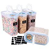 Cereal Container With Airtight Lid, 4-Piece Large Cereal Storage Containers Set, BPA Free Plastic Dry Cereal Dispenser (16.9 Cup 135.2oz) - FOOYOO