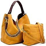 Handbag Republic Top Handle Tote w/ 2 Straps + Crossbody Pouch- 12+ Colors (Mustard)