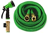 GrowGreen All New 2019 Garden Hose 50 Feet Improved Expandable Hose with All Brass Connectors, 8 Pattern Spray and High Pressure, Expanding Garden Hose