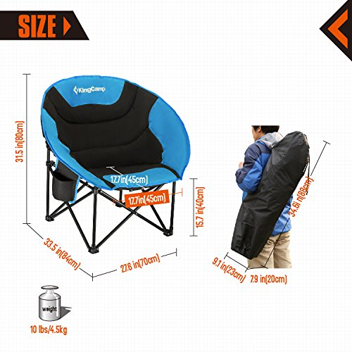 Kingcamp Moon Saucer Camping Chair Cup Holder Steel Frame Folding