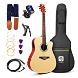 Acoustic Electric Guitar, Vangoa - 41' Full-Size VG-41ECNA Natural Acoustic Electric Cutaway Guitar + 4 Band EQ with Bag, Strap, Tuner, String, Picks, Capo