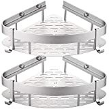 GUNMIN No Drilling Bathroom Shower Shelf Drill-Free Bathtub Corner Shelf Adhesive Shower Caddy Aluminum Alloy Kitchen Storage Basket - 2 Pack (G-901312)
