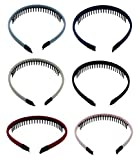 Iron Wire Teeth Comb Hairband Hair Hoop Headband Headwear Accessory for Lady Girls Women,Set of 6 Pcs ( Assorted Color)