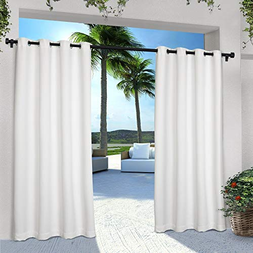 Exclusive Home Curtains Indoor/Outdoor Solid Cabana Window Curtain Panel Pair with Grommet Top, 54x84, Winter White, 2 Piece