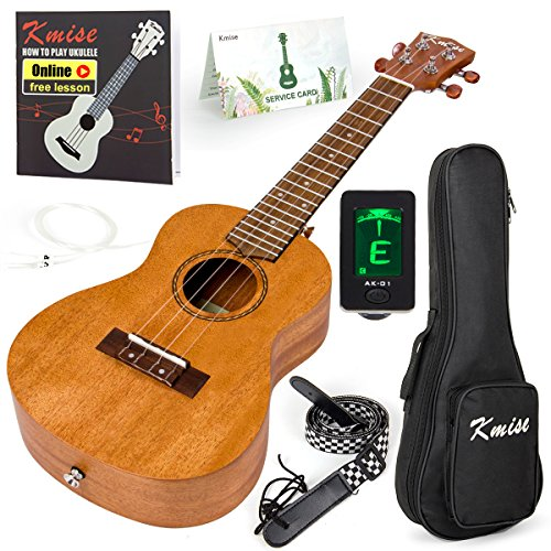 Kmise Concert Ukulele Kit Vintage Uke for Beginner With Starter Pack ( Gig Bag Tuner Strap String Instruction Booklet ) 23 Inch Mahogany Wood Uke (KMU23C)