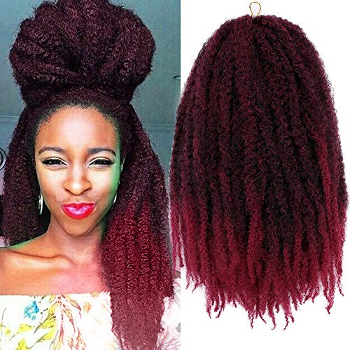 3Packs Marley Braid Hair Afro Twist Marley Crochet Hair 18Inch Ombre Kinkys Twist Braiding Hair Extensions 100g/Pc (#1B/Bug)