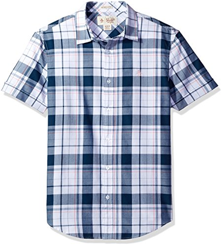 51FyV9uXDgL Short-sleeve button-up in plaid with hidden chambray trim at placket Penguin logo at chest Heritage slim fit