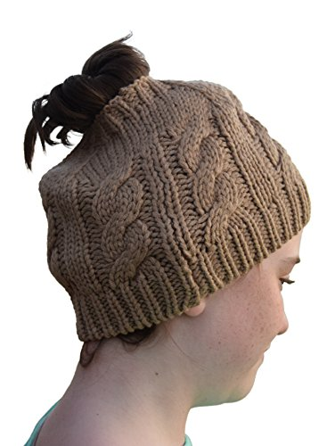 Crochet Messy Bun Beanie Style with Hole for Ponytail Hat Perfect ... 0d76fd085bc