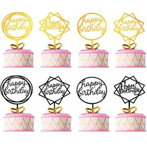 8 Pieces Happy Birthday Cake Topper Acrylic Cupcake Toppers Party Supplies for Birthday Cake Favor, Gold and Black 51FzFM730IL