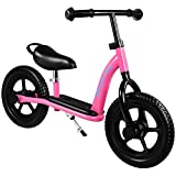 Maxtra 12inch Kids Balance Bike Lightweight Sports No Pedal Walking Bicycle with Adjustable Handlebar and Seat for Ages 2 to 7 Years Old (Footrest Pink)