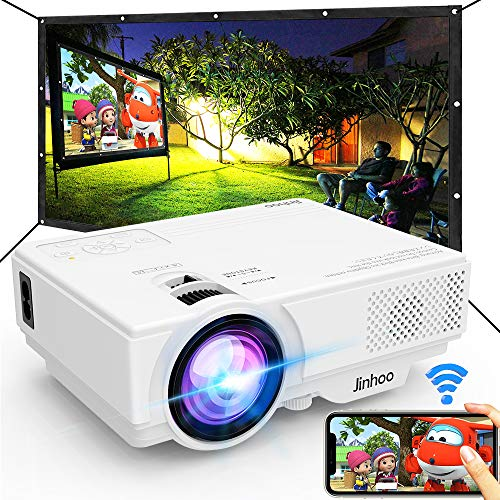 WiFi-Mini-Projector-2020-Latest-Update-5500L-100-Projector-Screen-Included-Outdoor-Movie-Projector-Supports-1080P-Synchronize-Smartphone-Screen-by-WiFiUSB-Cable-for-Home-Entertainment