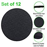 CoalFilters 12 Sets Round Kitchen-Compost-Bin Pail Charcoal-Filters Replacement (6.7 inch) Activated Charcoal Carbon Filter for Trashbins Compost Filters