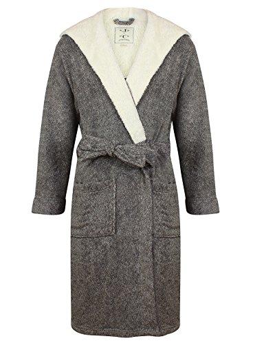 John Christian Men's Hooded Fleece Robe Dark Gray Marl (XL)