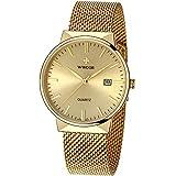 WWOOR Men's Watch Fashion Wristwatch Analog Quartz Watches Stainless Steel Watch Mesh Band Watch Waterproof Watch Casual Gift Watch Men (Gold)