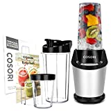 COSORI Upgraded Personal Blender(Recipe Book Included), 10-Piece Smoothie & Shakes Blender with 800W Auto-Blend Base for Ice Fruits & Nutrients Extraction, 2-Year Warranty, 2 x 24oz cups, 1 x 12oz cup