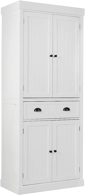 Amazon Com Tangkula 72 H Freestanding Kitchen Pantry Cupboard Cabinet Traditional Elegant Design W Adjustable Shelves 2 Door Floor Utility Storage Cabinet For Living Room Kitchen Hallway White Kitchen Dining
