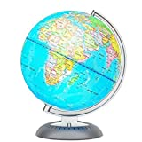 Illuminated World Globe for Kids with Stand - Built-in LED Light Illuminates for Night View - Colorful, Easy-Read Labels of Continents, Countries, Capitals & Natural Wonders, 8'