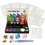 CCbeauty Art Face Painting Kit for Kids Adults, 14 Colors Professional Face & Body Paints,8 Halloween Pack Stencils 2 Brushes 4 Sponges 2 Glitters