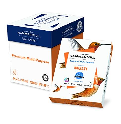 Hammermill Paper, Premium Multipurpose Paper, 8.5 x 11 Paper, Letter Size, 24lb Paper, 97 Bright, 5 Reams / 2,500 Sheets (105810C) Acid Free Paper