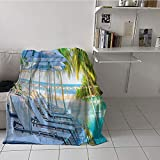 Khaki home Children's Blanket Throw Warm All Season Blanket for (70 by 90 Inch,House Decor Collection,Luxury Hotel Pool Near Beach Palm Trees Exotic Resort Umbrella Sunbed Chair Picture,Green Aqua