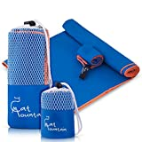 "Compact Quick Dry Microfiber Sport Towel XL (60""X30"") - Best for Gym, Fitness, Running, Workout, Yoga, Camping & Travel - Free Bonus Face Towel with Separate Mesh Bags"