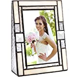 Wedding Picture Frame Ivory Opalescent Stained Glass Table Top 4x6 Horizontal Photo Anniversary Engagement J Devlin Pic 407-46V