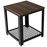 Product review for SONGMICS 2-tiered End Table Square-Frame Side Table with Metal Grate Shelf Black Walnut ULET41K