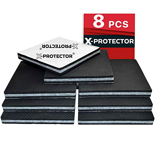 "Non Slip Furniture Pads X-PROTECTOR -Premium 8 pcs 4"" Furniture Pad! Best SelfAdhesive Furniture Grippers Rubber Feet Couch Stoppers –Ideal Furniture Floor Protectors Furniture Feet for Fix Furniture"