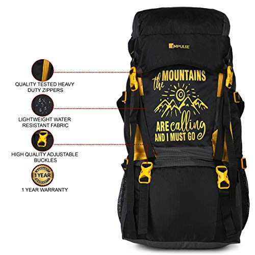 51G30OAXbcL - Impulse Waterproof Travelling Trekking Hiking Camping Bag Backpack Series Mt. Calling 68.6 cms Yellow Rucksack
