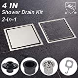 Modbath 4 Inch Square Shower Drain with Drain Base Flange 2' Outlet, Brushed Stainless Steel Finished Quadrate Floor Drain for Bathroom with Tile Insert Cover, Hair Strainer, Threaded Adapter