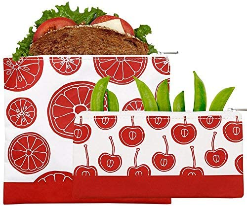 Lunchskins Reusable 2 Piece Zippered Food Storage Bag Set, 1 Sandwich Bag + 1 Snack Bag, Red Fruit