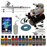 Master Performance G233 Airbrush Kit with 3 Tips and Master Air Compressor TC-20T, Createx Wicked Colors 12 Color Airbrush Paint Set and Airbrush Cleaning Kit