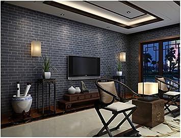 Yosot Retro Brick Wallpaper Thickening Waterproof Living Room Tv Background Shop Background Wallpaper Navy Blue Amazon Co Uk Diy Tools