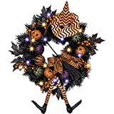 Valery Madelyn Happy Halloween 24 Inch Pre-Lit Halloween Wreath for Front Door with Witch Hat, Halloween Lights and Pumpkin Decorations(Black and Orange)