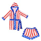 Boys Boxing Champion Costume Hooded Boxing Robe Set Kids Halloween Fancy Dress (American Flag Robe + Shorts, S)